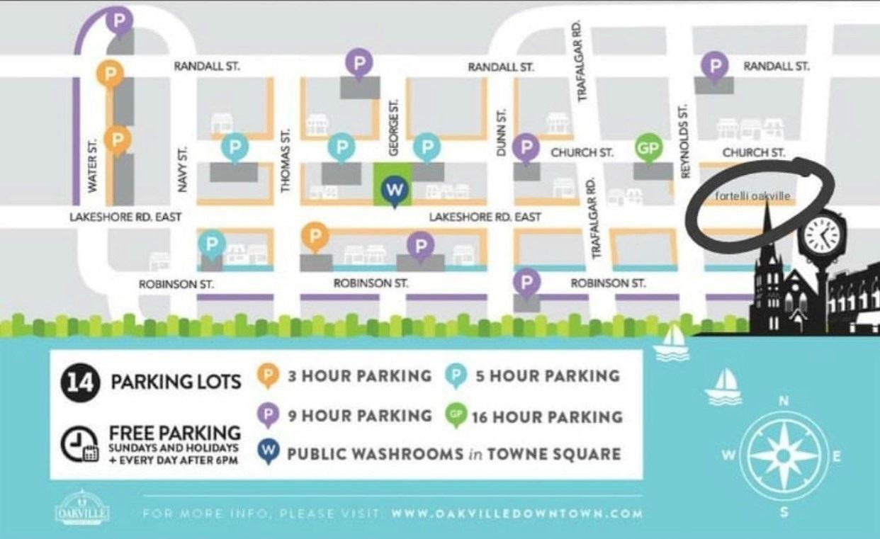 where to park for Fortelli Salon Oakville