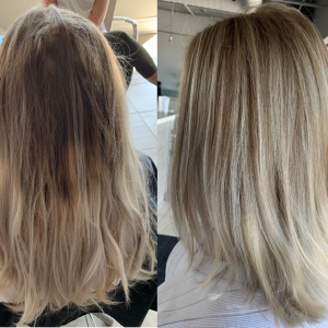 before-after-blonde-colour-correction-Oakville-ON