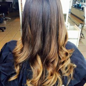 brunette-ombre-balayage hair colour Oakville Ontario